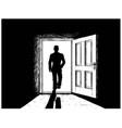 cartoon of open door and man walking in or from vector image