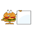 Chef Hamburger Cartoon Holding a Sign vector image vector image