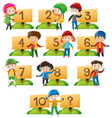 children and numbers on wooden board vector image vector image