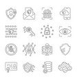 cyber security icons set internet protection vector image