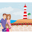 family on tropical vacation vector image