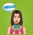fashion woman pop art cartoon vector image vector image
