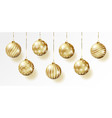 golden realistic christmas balls set vector image