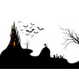 halloween night background with a cemetery isolate vector image