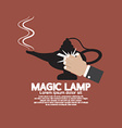 Hand Wiping The Magic Lamp vector image
