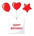 happy birthday card with balloons and a greeting vector image vector image