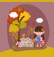 hello autumn season flat design vector image vector image