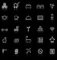 Hotel line icons with reflect on black vector image