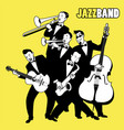jazz band five jazz players playing jazz music vector image