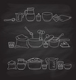 kitchen utensils on the blackboard vector image