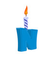 letter n birthday font letter and candle vector image