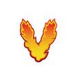 letter v fire flames font lettering tattoo vector image vector image