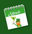 march calendar leprechaun with flag st patricks vector image