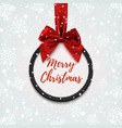 Merry Christmas black round banner vector image