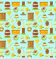 pattern of cartoon elements of beekeeping vector image vector image