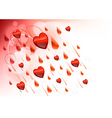 raining hearts on the light background vector image vector image