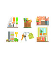 real estate icons set people moving to a new home vector image vector image