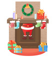 santa claus climbs out of the fireplace christmas vector image