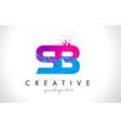 sb s b letter logo with shattered broken blue vector image vector image