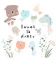 set cute funny little animals ballerinas vector image