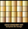 set of gold gradients for your design stock vector image vector image