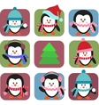 set of holiday penguins vector image vector image