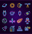 space sign neon icons vector image
