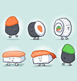 Sushi Cartoon Icons vector image vector image