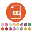 The ZIP file icon Archive and compressed symbol vector image vector image