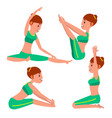 yoga female stretching and twisting vector image