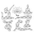 Yoga silhouette set vector image vector image