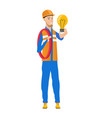 young caucasian electrician holding lightbulb vector image vector image