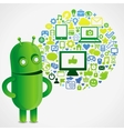 Funny green robot with social media concept vector image