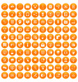 100 on-line seminar icons set orange vector image vector image