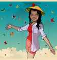 a cartoon woman in a vietnamese hat is surrounded vector image vector image