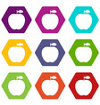 apple icon set color hexahedron vector image vector image