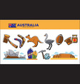 australia travel destination poster with national vector image vector image