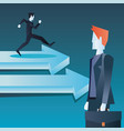 businessmen team walk on arrow business vector image