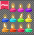 candles set heart form wax design vector image vector image