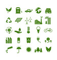 cartoon ecology signs green icons set vector image