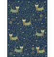 cats on a blue background vector image vector image