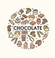 chocolate round design template contour lines icon vector image vector image