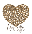 coffee heart with lettering vector image vector image