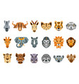 collection of african animals made in modern flat vector image vector image