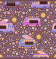 colorful ice cream trucks seamless pattern vector image