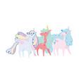 cute little unicorns rainbow hair horn dream vector image vector image