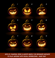 Dark Jack O Lantern Cartoon 9 Scary Expressions vector image