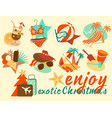 exotic christmas icon set vector image