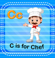 flashcard letter c is for chef vector image vector image