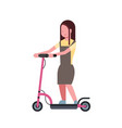 girl riding electric kick scooter over white vector image vector image